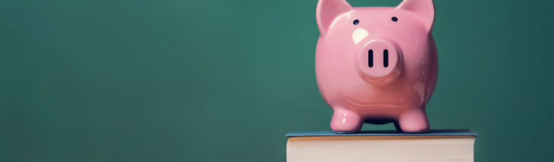 Photo of a piggybank on top of a stack of books.
