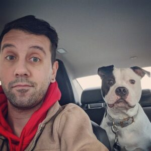selfie with dog in car