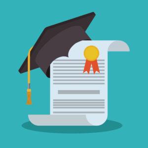 graduation cap with a diploma