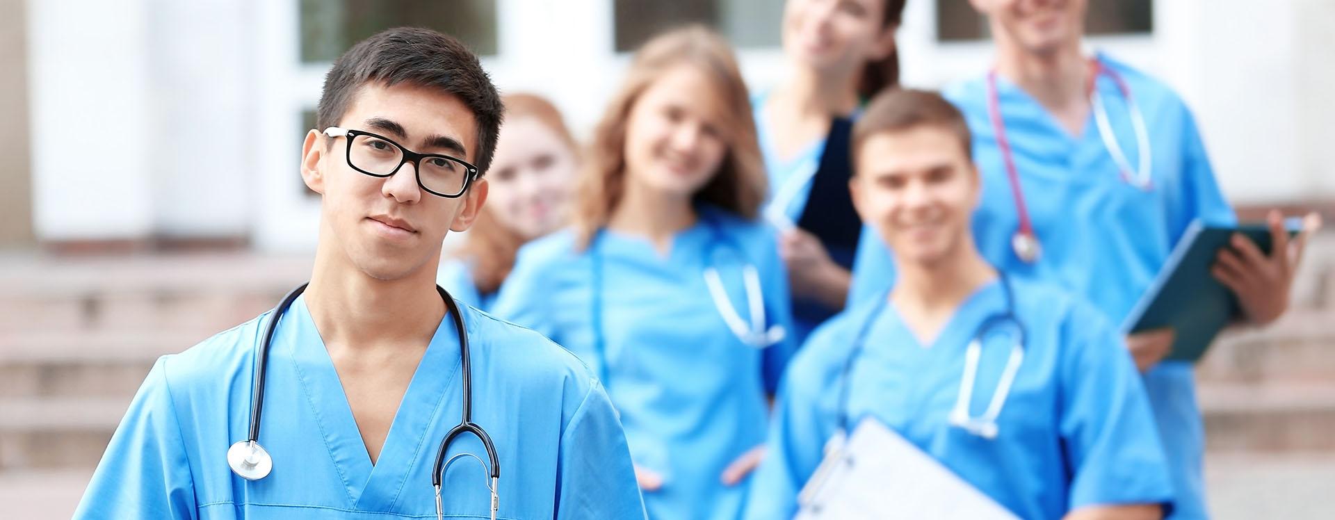 Nurses line up outside medical center